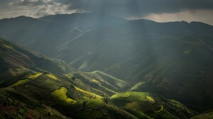 Nature Landscape Rice Paddy Sun Rays Mountains Terraces Field Clouds Mist Valley Vietnam 1920x1200 Wallpaper