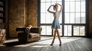 Model Skirt Dance Blonde 1920x1080 wallpaper