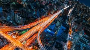 Light Night City Japan Highway Time Lapse Building 2048x1367 Wallpaper