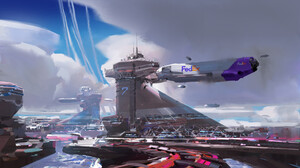 Aircraft Building City Futuristic Sci Fi 1920x1242 Wallpaper