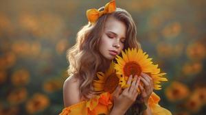 Lera Vasilcheva Women Ribbon Blonde Makeup Closed Eyes Freckles Yellow Clothing Bare Shoulders Plant 2550x1700 Wallpaper