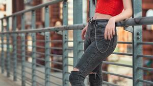 Women Brown Eyes Red Tops Torn Jeans Dark Hair Looking At Viewer Jeans Women Outdoors 3712x5568 Wallpaper