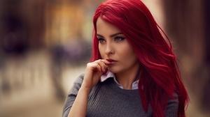 Blue Eyes Depth Of Field Girl Model Red Hair Woman 2048x1367 Wallpaper