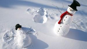 Nature Winter Snow Shadow Snowman Top Hat Humor Angel 1920x1200 Wallpaper