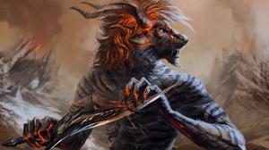 Creature Dagger Horns Warrior 2000x1429 Wallpaper