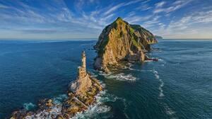 Landscape Nature Sea Island Rocks Lighthouse Sky Russia Bing 1920x1080 Wallpaper