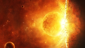 Collision Explosion Planet Red Space Stars Yellow 1600x1200 Wallpaper