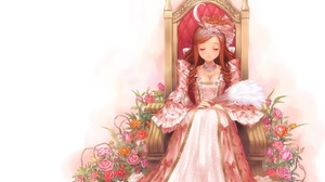 Dress Flower Smile Long Hair Brown Hair Tiara Fan Headdress Throne 3640x3040 Wallpaper