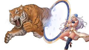 Artwork Anime Girls Tiger Open Mouth Dress Neckline Teeth Claws Fangs Silver Hair Green Eyes Last Or 6000x3146 Wallpaper