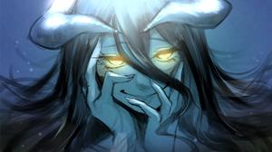 Overlord Anime Anime Girls Monster Girl Demon Horns Yandere Glowing Eyes Long Hair Black Hair 2D Alb 1698x1194 Wallpaper