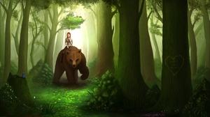 Bear Fantasy Forest Woman 2978x1674 Wallpaper
