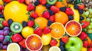 Fruit Strawberries Blueberries Lemons Blackberries Orange Fruit Apples Bananas 1920x1080 wallpaper