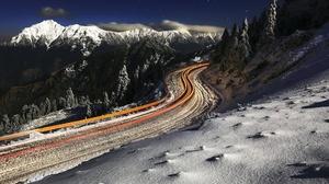 Night Road Mountain Nature Winter Snow 2048x1248 Wallpaper