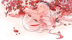 Anime Anime Girls Flowers Necklace Earrings Red Eyes Blonde Multicolored Hair Petals Sakura Tree Loo 3000x1700 Wallpaper
