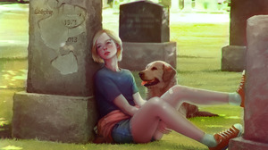 Artwork Women Outdoors Outdoors T Shirt Looking At The Side Dog Grave Looking Away Women Legs Apart  1944x1280 Wallpaper