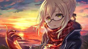 Anime Girls Fate Series Fate Grand Order Glasses Yellow Eyes Scarf Blonde Sunset Presents FGO Artori 1920x1355 Wallpaper