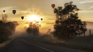 Fog Hot Air Balloon Landscape Road Sun Sunbeam Sunrise Tree Vehicle 5462x3072 Wallpaper
