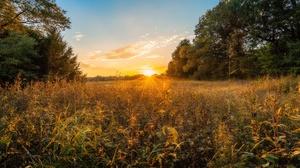Grass Sky Sunbeam Sunset 5744x3829 Wallpaper
