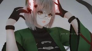 Anime Anime Girls Aoi Ogata Simple Background Horns Touhou Glasses 1485x1080 Wallpaper