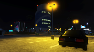 Pacifico Roblox Game Roblox Bmw E30 M3 Parking Lot Street Light Building Skyscraper Reflection 3588x1892 Wallpaper