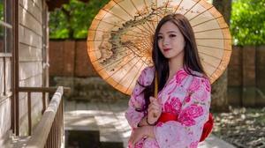 Umbrella Kimono Woman Model Brunette 3840x2560 Wallpaper