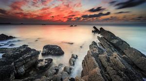 Earth Ocean Rock Sea Sunset Orange Color 2560x1600 wallpaper