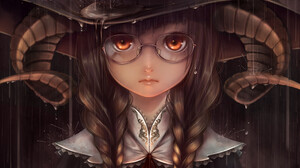 Anime Girls Fantasy Art Bouno Satoshi Witch Witch Hat Horns Glasses Brown Eyes Brunette Braids Rain 2121x3000 Wallpaper