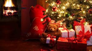 Christmas Lights Christmas Ornaments Christmas Tree Fireplace Gift Teddy Bear 2528x1920 Wallpaper