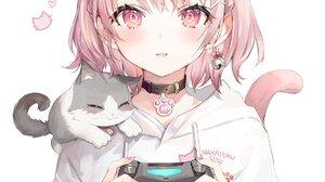 Cat Girl Cats Controllers Anime Anime Girls Artwork Momoko Short Hair Pink Hair Pink Eyes 1200x1605 Wallpaper