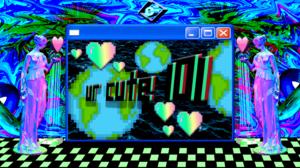 Vaporwave Retrowave Retro Computers 3D Abstract Earth Internet Explorer Trees Colorful 2736x1285 Wallpaper