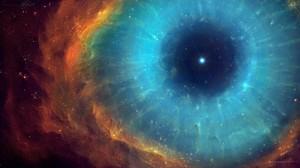 Nebula Helix Nebula Space Stars Eyes Space Art Digital Art Galaxy Red Cyan 3000x1694 Wallpaper