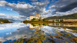 Eilean Donan Castle Castle Scotland Bridge Lake Reflection Sky Cloud 2048x1365 Wallpaper