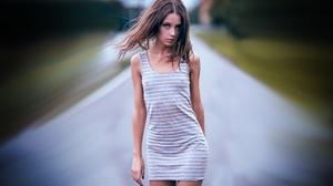 Model Women Standing White Dress Hair Blowing In The Wind Women Outdoors Ksenia Kokoreva Brunette De 3200x2000 wallpaper