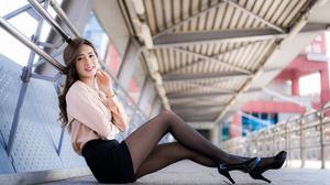 Asian Model Women Long Hair Dark Hair Depth Of Field Black Skirts Sitting Blouse Black Heels Leaning 4562x3041 Wallpaper