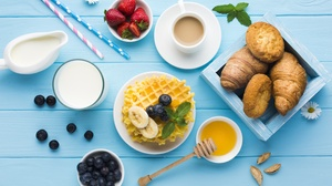 Berry Blueberry Breakfast Coffee Croissant Milk Still Life Waffle 5706x3804 Wallpaper