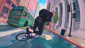 Igor Artyomenko Artwork Bicycle Digital Painting ArtStation City Digital Art 3840x2160 Wallpaper