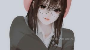 Anime Anime Girls Digital Art Simple Background Original Characters Aoi Ogata Glasses 1215x1485 Wallpaper