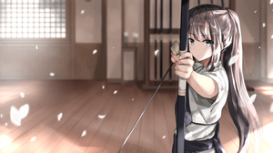 Fuu Artist Anime Anime Girls Arrows Bow And Arrow Archer Bow Japanese Clothes Brunette Ponytail 2912x1591 Wallpaper