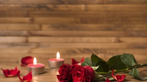 Candle Love Red Flower Rose Valentine 039 S Day 7194x4801 Wallpaper
