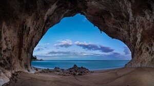 Arch Blue Cave Cloud Earth Horizon Ocean Sand Sea 1920x1080 Wallpaper