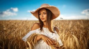 Blonde Field Girl Hat Model Summer Wheat White Dress Woman 5760x3840 Wallpaper