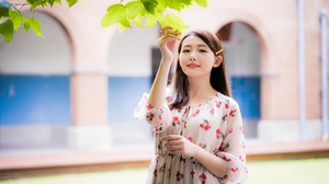 Asian Model Women Long Hair Brunette Depth Of Field Building Leaves Flower Dress Looking At Viewer H 4562x3043 Wallpaper