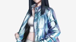 Kill La Kill Thick Eyebrows Blue Eyes Black Hair Blue Jacket Crop Top Anime Girls White Tank Top Sol 2434x3007 Wallpaper