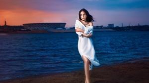 Women Water Women Outdoors Alexander Drobkov White Dress Tattoo Bare Shoulders Sunset Barefoot Windy 2560x1707 Wallpaper