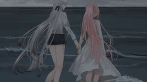 Anime Anime Girls Gray Hair Pink Hair Long Hair Ponytail Beach Sand Water 1061x1500 Wallpaper