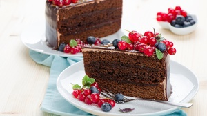 Berry Blueberry Cake Chocolate Currants Dessert Pastry 6016x3985 Wallpaper