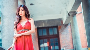 Asian Brunette Depth Of Field Girl Lipstick Long Hair Model Red Dress Woman 2048x1366 Wallpaper