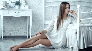 Women Model Legs Legs Together Barefoot Straight Hair Brunette Looking At Viewer On The Floor Sittin 1920x1272 Wallpaper