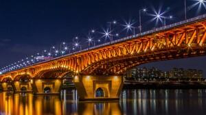 Bridge Light Night Seongsu Bridge Seoul South Korea 5200x3250 Wallpaper