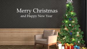 Merry Christmas Happy New Year Christmas Tree Gift 2560x1920 Wallpaper